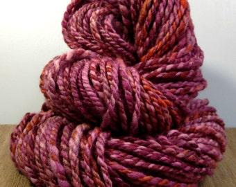 "Handspun Wool Yarn, ""Fall Mums A"" , Hand Dyed Merino Wool Yarn, Bulky Yarn, Chunky Yarn"