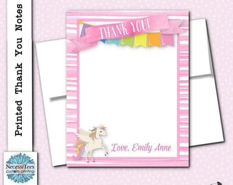 Printed Thank You Note Cards, With Envelope, Unicorn, Rainbow, Pastel Colors, Pink Stripes, Birthday Party, Baby Shower