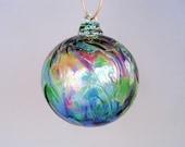 Hand Blown Art Glass Christmas Ornament/Ball/Suncatcher,  Red Multicolored