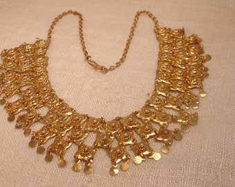 Vintage Gold Boho Necklace Gold Necklace Bohemian Necklace Bohemian Jewelry Gypsy Necklace Boho Jewelry Hippie Necklace Hippie Jewlery