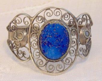 Wide Silver Blue Glass Bracelet Vintage Bracelet Silver Bracelet Silver Filigree Bracelet Silver Openwork Silver Cuff