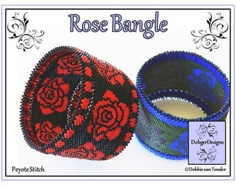 Beading Pattern, Tutorial, Peyote Stitch, Bangle - ROSE