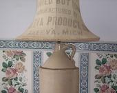 Antique Stoneware Jug Lamp with Burlap Flour Lamp Shade, Rustic Farm House Lighting, Country Home, Primitive Decor, Home Decor Lighting