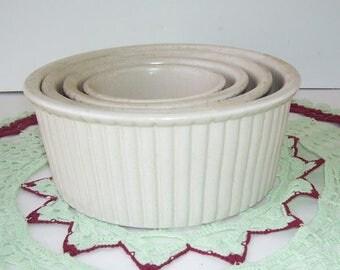 Vintage Stoneware 4 Piece Baking Set, Rustic Kitchen, Antique Ironstone 4 Piece Serving Set, Stacking Bowls, Baking Dishes, Cottage Chic