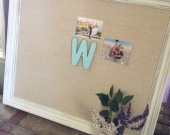 "Linen Corkboard Memoboard X Large 35""x42"" Wedding Escort Cards Elegant Home Decor (Item BL 120)"