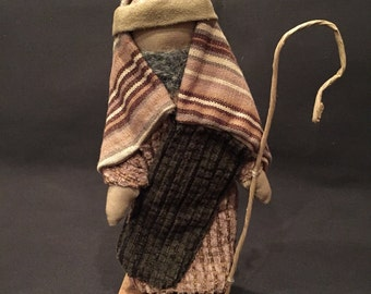 Soft Sculpture Shepherd with crook  and wooden stand for Hands-on Nativity set