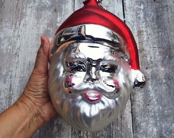 Large Dept 56 Santa ornament vintage Christmas glass ornaments, Santa Claus Christmas decor, Santa collectible, Christmas decoration