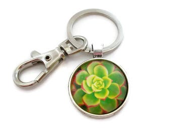 Cute Succulent Keychain, Plant Keychain, Green and Red, Succulent Gift, Metal Keychain, Key Holder, Key Chain, Key Ring, Gifts Under 10