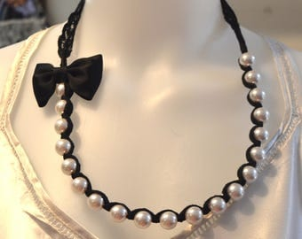 Black and White Faux Pearl lace ribbon necklace, prom jewelry, sweet sixteen, Black lace ribbon necklace, Bow necklace, gift for her, bride