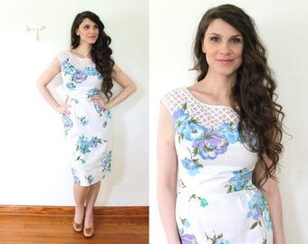 1950s Floral Wiggle Dress / 60s 50s Illusion Neckline Lattice White Floral Garden Party Dress