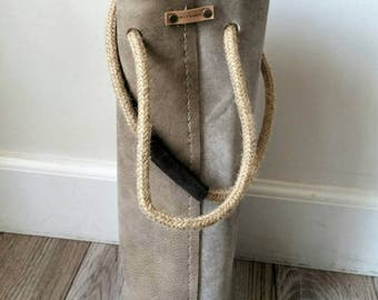 Reclaimed Leather Wine and Beer Tote in weathered Beige.