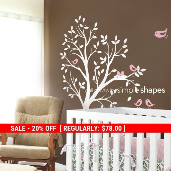 Holiday Sale - Kids Wall Decal - THE ORIGINAL Tree with Birds and Nest