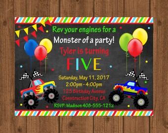 Monster Truck Birthday Invitation,Monster Truck Birthday Party, Monster Truck Chalkboard Invitation, Boys Truck Birthday Invitation