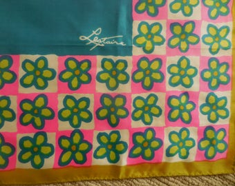 Square Aqua Olive Fuscia  Lime and White Vintage Scarf