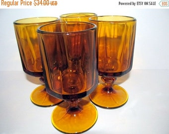 Shop Closing Sale Vintage Amber Octagonal Glasses Pedestal Base