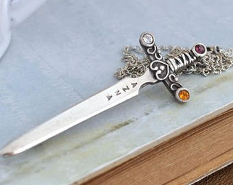 vintage find, sterling silver azna sward brooch pin with colorful rhinestones