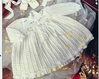 Baby Kniting PATTERN - Dress, Bonnet and Shoes/Slippers/Booties 16 to 22 inch