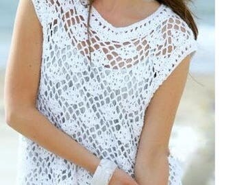 Crochet Pattern - Womens Crochet Top Tunic Beach Wear PDF