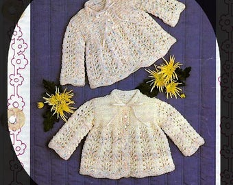 Baby KNITTING PATTERN - Baby Matinee Jackets/cardigans 17- 19 ins chest