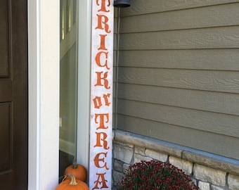 Trick or Treat Halloween Fall Front Door Decor Wood Sign