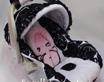 Black/White 3D rosette Roses with light pink minky & White Minky, Infant car seat cover 5 piece set