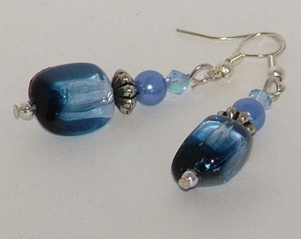 Blue And Silver Earrings With Repurposed Beads