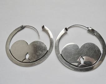 Hallmarked Taxco Large Hoop Earrings