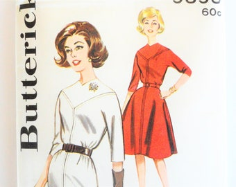 1960s Dress pattern, three quarter sleeves, slim or flared skirt, uncut, vintage sewing pattern Butterick 9895 misses size 14, bust 34
