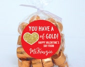 Valentine's Day Stickers - You Have A Heart of Gold - Sheet of 12 or 24