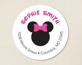 Minnie Mouse Address Labels (Pink) - Sheet of 24