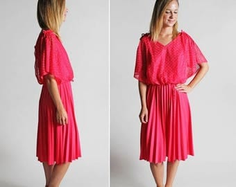 SALE Vintage Neon Fuschia Flutter Sleeve Day Dress Skirt - Long Elastic Waist Full A-line Midi Summer Casual 1980's 80's Rayon - Size Large