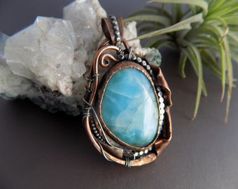 Larimar Copper and Silver Pendant, Handmade Metalwork Pendant Mixed Metal Blue Larimar Pendant, Boho Jewelry, Larimar Jewelry Wire and Metal