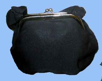 Super cute 1930's Black Satin Bag for day or evening wear