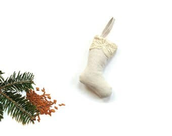 Small Christmas stocking sachet ornament, pine sachet, linen and lace mini stocking, tree ornament gift under 20, holiday decor