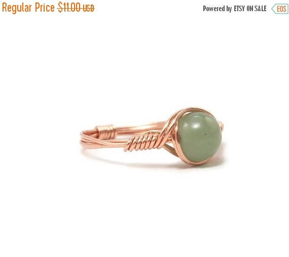 15% OFF Green Aventurine Copper Custom Sized Wire Wrapped Ring