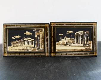 Paintings Pair Greek Classical Scenes Grand Tour Greek Key Parthenon Temple of Zeus Impasto on Board