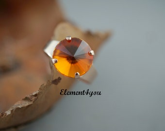 Swarovski Crystals Fire Opal 12mm Round Crystal Ring Adjustable Bright Orange Crystal Light Rose Gold Ring Friends Gift Holiday Christmas