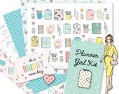 Printable Retro PLANNER GIRL Kit!-Digital File Instant Download- die cuts, stickers, digital paper, tabs, Bando, Happy Planner, hand drawn