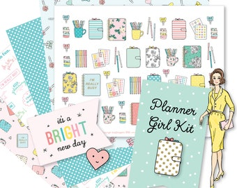 Printable Retro PLANNER GIRL Kit!-Digital File Instant Download- die cuts, stickers, digital paper, tabs, Bando, Happy Planner, hand drawn