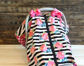 Carseat Cover / Carseat Canopy - Floral with Black and White Stripes