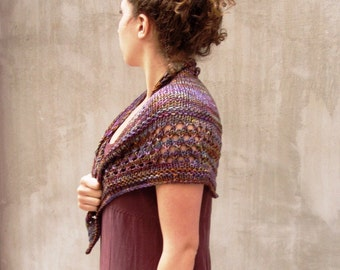Chocolate Brown marbled feminine triangle hand knit scarf soft merino wool gift for Mom