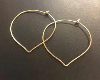 lotus flower hoop earrings, lotus petal, gold hoop earrings, handcrafted hoops