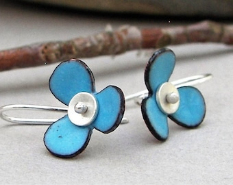 Small flower earrings, blue, enamel, nature jewelry, minimalist, botanical, silver, copper, floral, tomlindesign, bridesmaid, flower girl