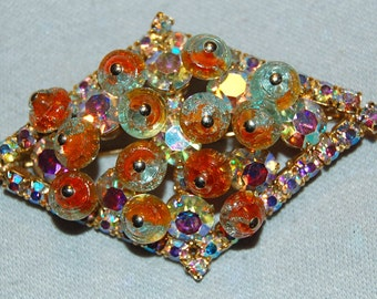 Vintage / Art Glass / Juliana / Brooch / Clear / Aurora Borealis / Old Jewellery / Jewelry / Rhinestone