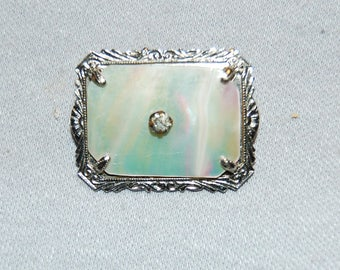 Vintage / Antique / Victorian / MOP / C Clasp / Brooch / Mother of Pearl / Rhinestone / old jewelry / jewellery