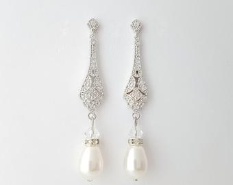 Wedding Earrings Vintage Style Wedding Earrings Bridal Jewelry Cubic Zirconia Long Pearl Earrings Wedding Jewelry, Lisa earrings