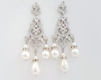 Wedding Earrings Chandelier Bridal Earrings Swarovski Pearl Wedding Earrings Cubic Zirconia Long Crystal Bridal Earrings, Freya