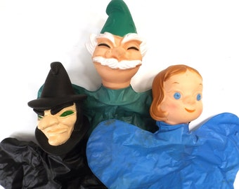vintage 60's hand puppets collection of 3 plastic people characters wizard of oz wicked witch dorothy gift for her him friend coworker mom