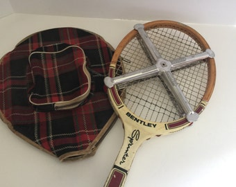 Awesome Vintage Tennis Racquet with metal press and cloth plaid cover