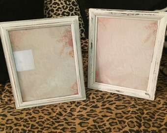"Pair of Shabby Chic Upcycled Frames with Glass and Backing 8"" by 10"" Photo Wedding Decor Shabby Chic Cottage Decor French Country Frames"